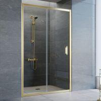 Душевая дверь в нишу Vegas Glass ZP 110 09 01 профиль золото, стекло прозрачное