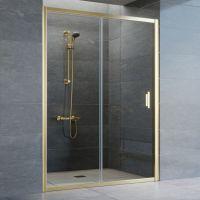 Душевая дверь в нишу Vegas Glass ZP 140 09 01 профиль золото, стекло прозрачное