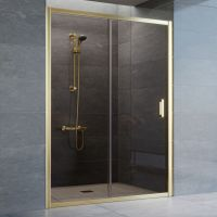 Душевая дверь в нишу Vegas Glass ZP 140 09 05 профиль золото, стекло бронза