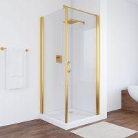 Душевой уголок Vegas Glass EP-Fis 80 09 01 R профиль золото, стекло прозрачное