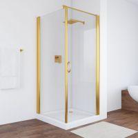 Душевой уголок Vegas Glass EP-Fis 80*90 09 01 R профиль золото, стекло прозрачное