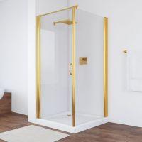 Душевой уголок Vegas Glass EP-Fis 90*100 09 01 L профиль золото, стекло прозрачное