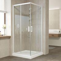 1Душевой уголок Vegas Glass ZA 80 01 01 профиль белый, стекло прозрачное