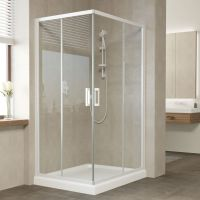 Душевой уголок Vegas Glass ZA-F 100*80 01 01 профиль белый, стекло прозрачное