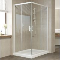 Душевой уголок Vegas Glass ZA-F 110*80 01 01 профиль белый, стекло прозрачное