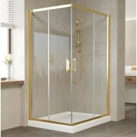 Душевой уголок Vegas Glass ZA-F 110*90 09 01 профиль золото, стекло прозрачное