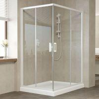 Душевой уголок Vegas Glass ZA-F 120*100 01 01 профиль белый, стекло прозрачное