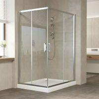Душевой уголок Vegas Glass ZA-F 120*100 08 01 профиль глянцевый хром, стекло прозрачное