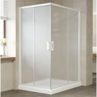 Душевой уголок Vegas Glass ZA-F 120*110 01 10 профиль белый, стекло сатин