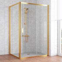 Душевой уголок Vegas Glass ZP+ZPV 110*100 09 01 профиль золото, стекло прозрачное