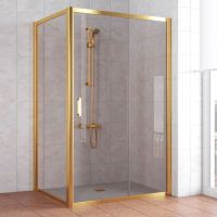 Душевой уголок Vegas Glass ZP+ZPV 110*100 09 05 профиль золото, стекло бронза
