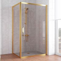Душевой уголок Vegas Glass ZP+ZPV 110*80 09 05 профиль золото, стекло бронза