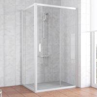 Душевой уголок Vegas Glass ZP+ZPV 110*90 01 01 профиль белый, стекло прозрачное