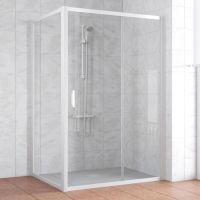 Душевой уголок Vegas Glass ZP+ZPV 130*100 01 01 профиль белый, стекло прозрачное