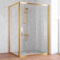 Душевой уголок Vegas Glass ZP+ZPV 130*100 09 01 профиль золото, стекло прозрачное