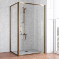 Душевой уголок Vegas Glass ZP+ZPV 130*70 05 01 профиль бронза, стекло прозрачное