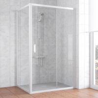Душевой уголок Vegas Glass ZP+ZPV 130*80 01 01 профиль белый, стекло прозрачное