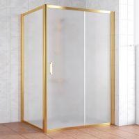 Душевой уголок Vegas Glass ZP+ZPV 140*100 09 10 профиль золото, стекло сатин