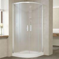 Душевой уголок Vegas Glass ZS 110 01 10 профиль белый, стекло сатин