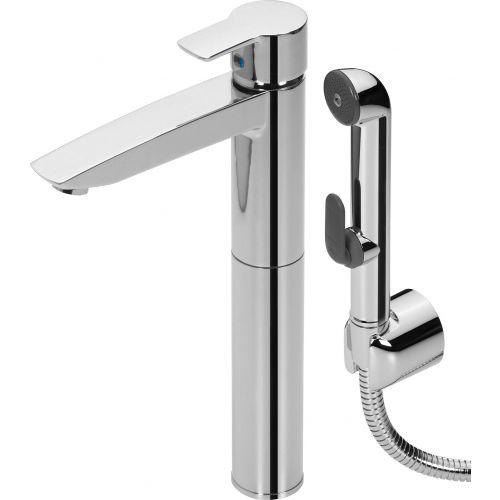 Смеситель Oras Cubista 2802 для раковины с гигиеническим душем, с донным клапаном