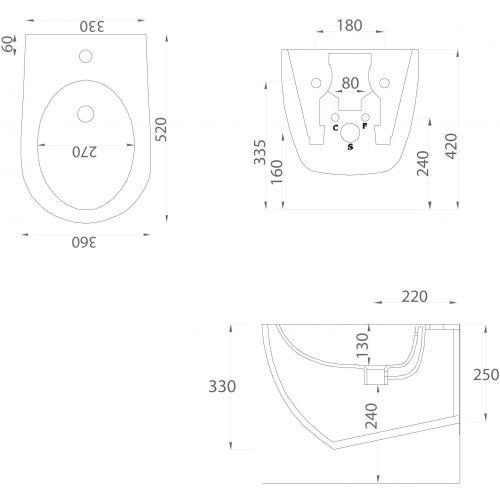 Биде подвесное ArtCeram File 2.0 FLB001 giallo zinco