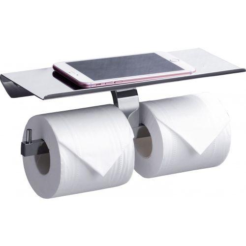 Держатель туалетной бумаги Rush Edge ED77142B двойной, с полкой для телефона