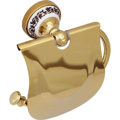 Держатель туалетной бумаги Fixsen Bogema gold FX-78510G с крышкой