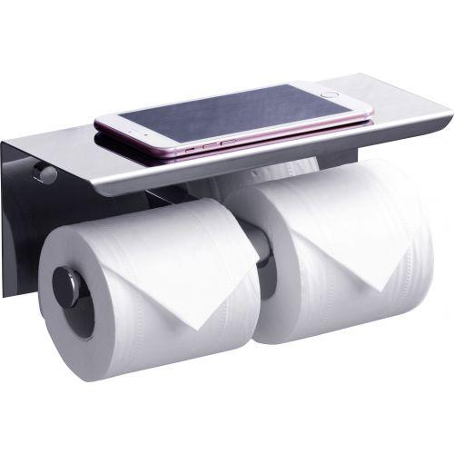 Держатель туалетной бумаги Rush Edge ED77142A двойной, с полкой для телефона