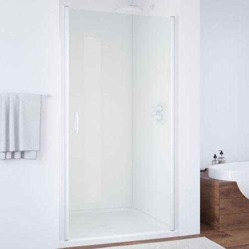 Душевая дверь в нишу Vegas Glass EP 85 01 01 профиль белый, стекло прозрачное