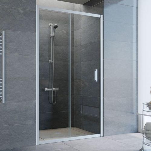 Душевая дверь в нишу Vegas Glass ZP 105 07 01 профиль матовый хром, стекло прозрачное