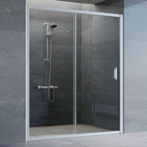 Душевая дверь в нишу Vegas Glass ZP 160 07 01 профиль матовый хром, стекло прозрачное