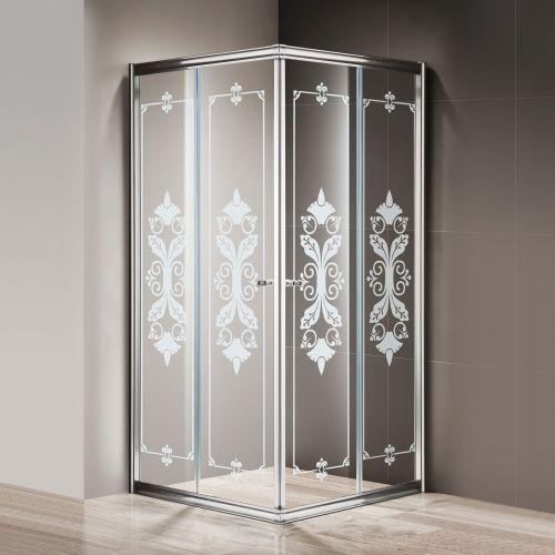 Душевой уголок Cezares Giubileo-A-2-100 стекло с узором, хром