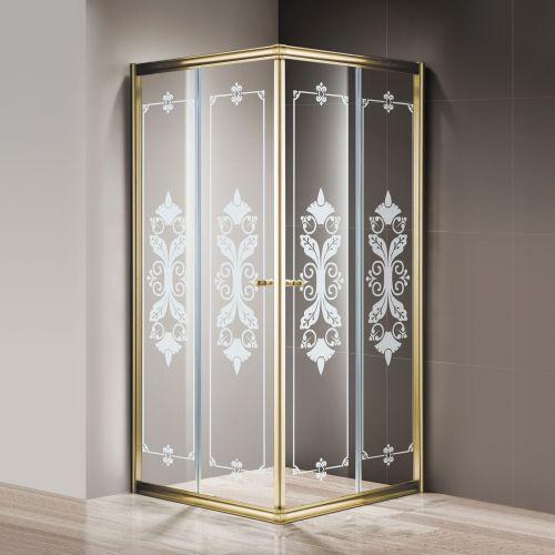 Душевой уголок Cezares Giubileo-A-2-100 стекло с узором, золото