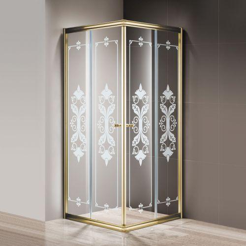 Душевой уголок Cezares Giubileo-A-2-80 стекло с узором, золото