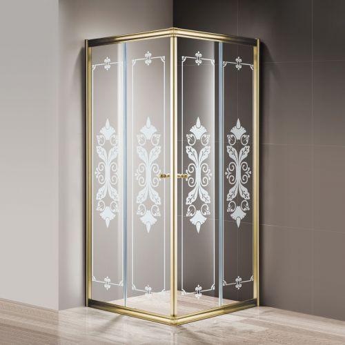 Душевой уголок Cezares Giubileo-A-2-90 стекло с узором, золото
