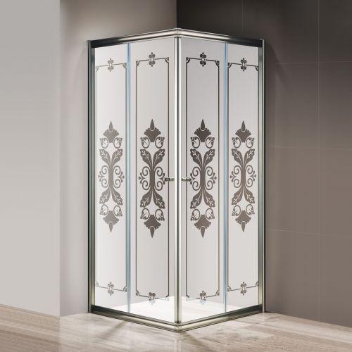 Душевой уголок Cezares Giubileo-A2-90 матовое стекло с узором, бронза