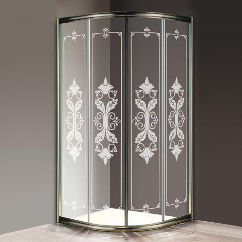 Душевой уголок Cezares Giubileo-R2-90 стекло с узором, бронза