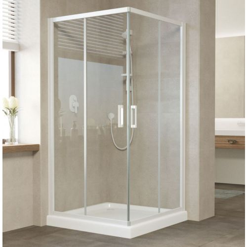 Душевой уголок Vegas Glass ZA 0100 01 01 профиль белый, стекло прозрачное