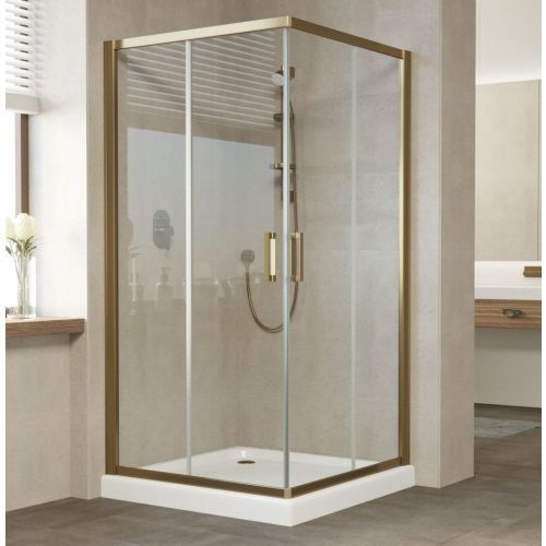 Душевой уголок Vegas Glass ZA 100 05 01 профиль бронза, стекло прозрачное