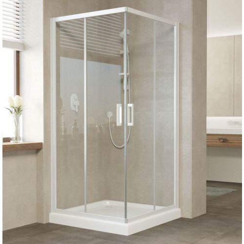 Душевой уголок Vegas Glass ZA 90 01 01 профиль белый, стекло прозрачное