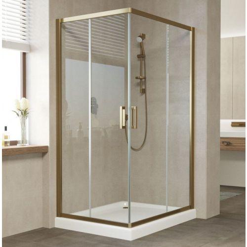 Душевой уголок Vegas Glass ZA-F 100*80 05 01 профиль бронза, стекло прозрачное