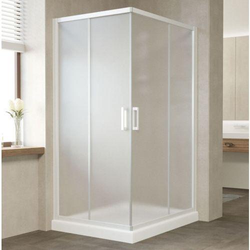 Душевой уголок Vegas Glass ZA-F 100*90 01 10 профиль белый, стекло сатин