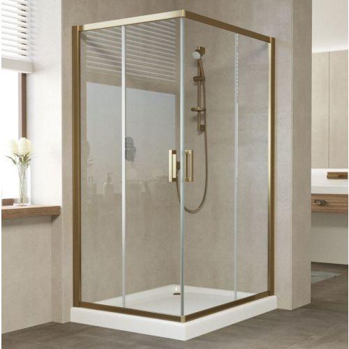 Душевой уголок Vegas Glass ZA-F 100*90 05 01 профиль бронза, стекло прозрачное