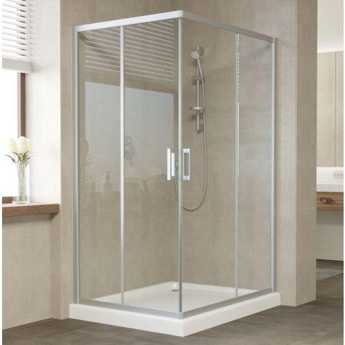 Душевой уголок Vegas Glass ZA-F 110*100 07 01 профиль матовый хром, стекло прозрачное