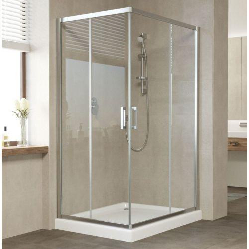 Душевой уголок Vegas Glass ZA-F 110*80 08 01 профиль глянцевый хром, стекло прозрачное