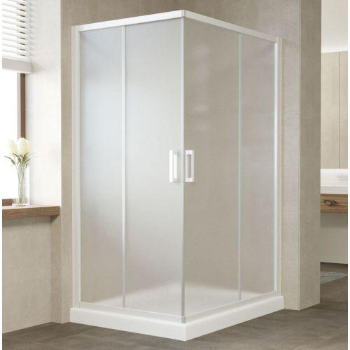 Душевой уголок Vegas Glass ZA-F 110*90 01 10 профиль белый, стекло сатин