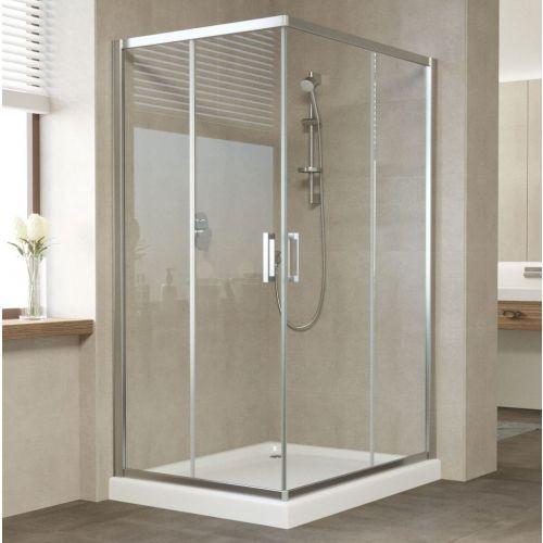 Душевой уголок Vegas Glass ZA-F 110*90 08 01 профиль глянцевый хром, стекло прозрачное