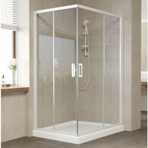 Душевой уголок Vegas Glass ZA-F 120*80 01 01 профиль белый, стекло прозрачное