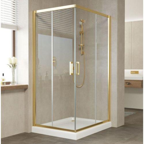 Душевой уголок Vegas Glass ZA-F 90*80 09 01 профиль золото, стекло прозрачное