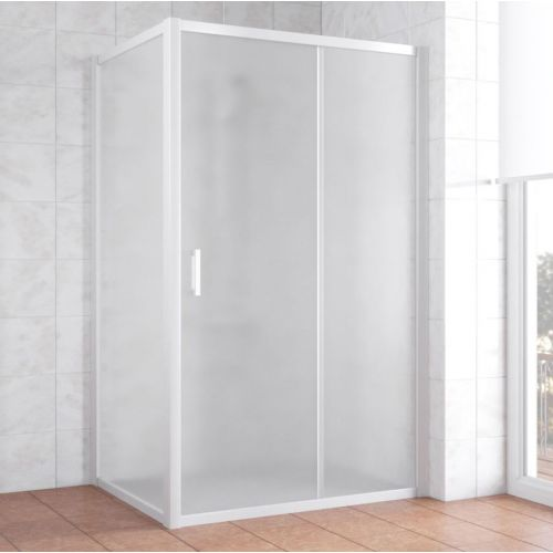 Душевой уголок Vegas Glass ZP+ZPV 120*80 01 10 профиль белый, стекло сатин